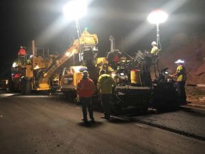 Night paving asphalt in Springdale