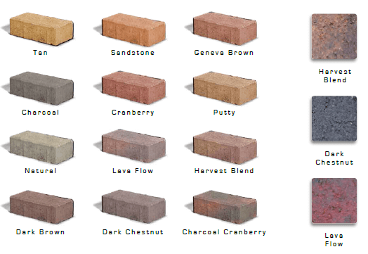 paver colors, colors of pavers, brick colors