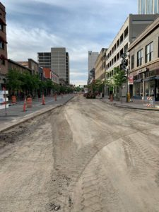 Downtown Boise with old asphalt removed getting ready for the new asphalt