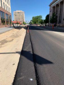 Paving HMA asphalt downtown