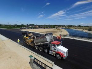 Paving HMA on Lake Hazel Road