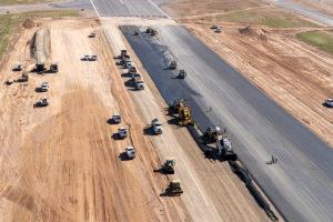 Paving asphalt on new runway Cedar City Regional Airport