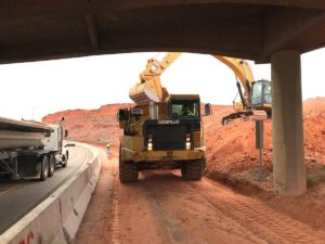 Removing material at exit 16 to SR-9 leading to Zions National Park