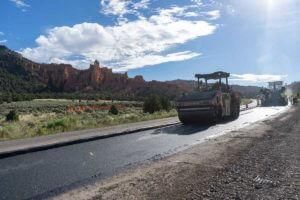 Compacting Hot Asphalt on SR-12 Near Bryce Canyon Utah