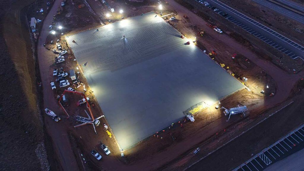 High level view of over 1700 yards of concrete for massive warehouse slab floor