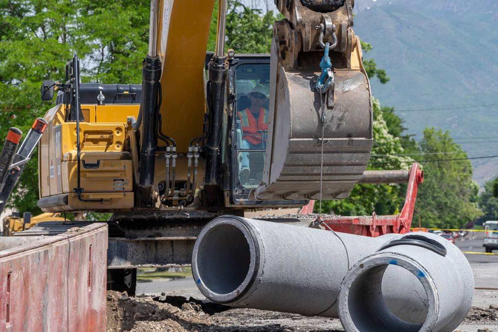 utility pipe drainage installation