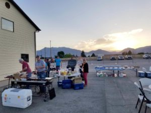 Setting up breakfast for 120 Sunroc employees